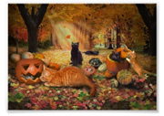 Cats Playing in an Autumn Forest