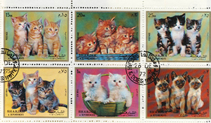 Domestic Kittens Postage Stamps from Sharjah and Dependencies
